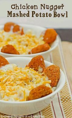 Kids version of KFC Chicken Bowl. Homemade mashed potatoes (or you can use sweet potatoes to get in extra vitamins) top with Colby shredded cheese & add chicken nuggets around it. Ideal foods for toddlers, kids, autistic & picky eaters. Teens & adults would like this frugal meal as well. G;)