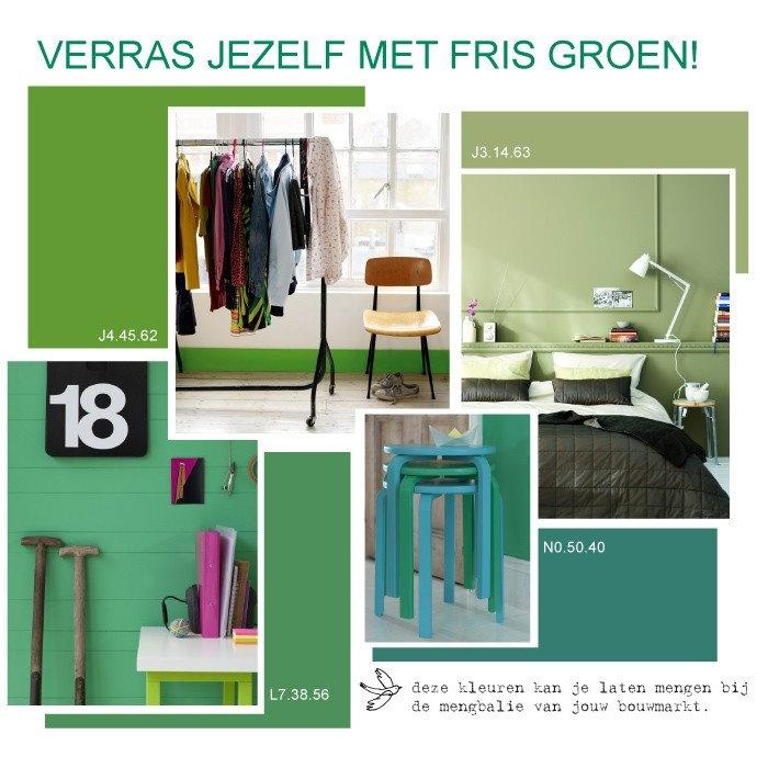 Frisse groene kleuren in je interieur met deze sprankelende Flexa collectie. #kleur #interieur