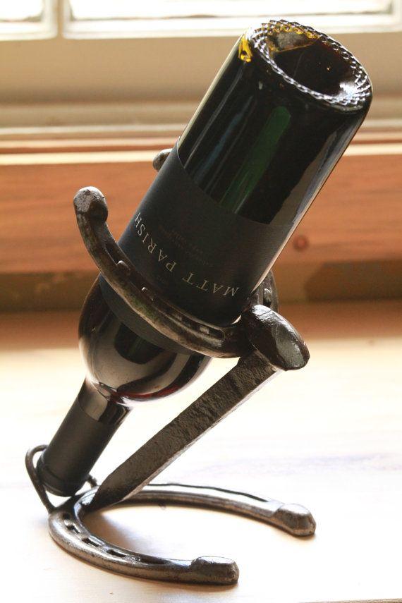 Horseshoe & railroad spike Wine bottle by Desire Metal Works