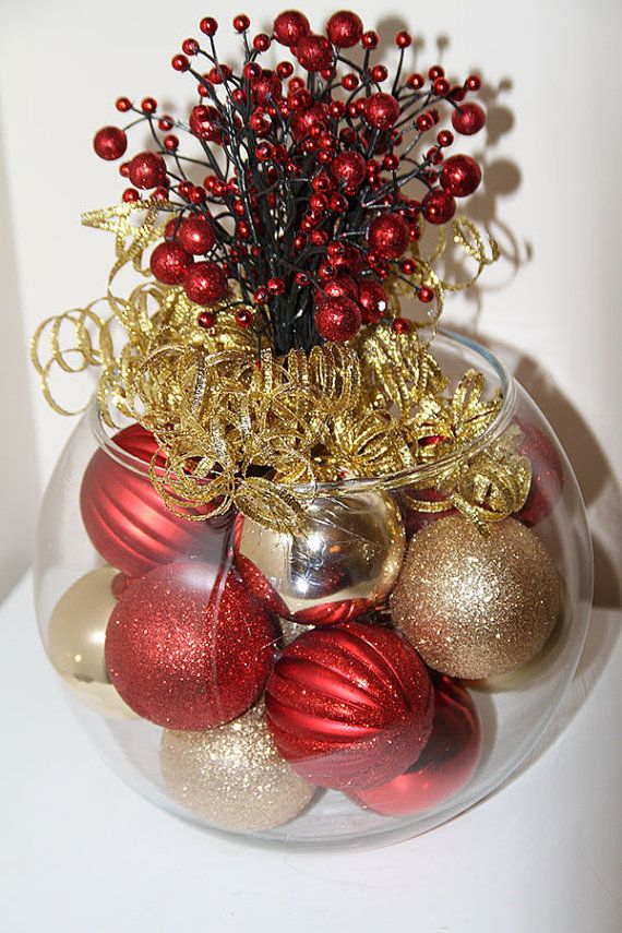 Christmas Centerpiece Red and Gold Holiday by GlitterGlassAndSass