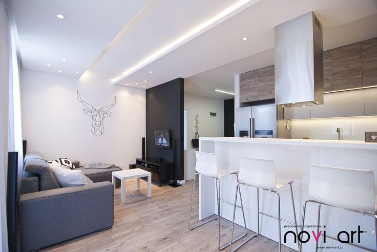 Novi art - , projekt wnętrza, nowoczesne wnetrze, szarości, drewno, beton, minimal interior design, druciak.pl, salon