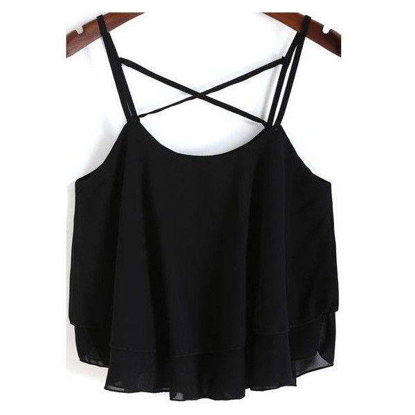 SheIn(sheinside) Black Spaghetti Strap Loose Chiffon Cami Top ❤ liked on Polyvore featuring tops, spaghetti strap tank, chiffon tank top, loose fitting tanks, cami top and camisole tops