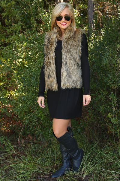 Faux fur vest. Use SUNSHINESTILETTOS for 10% off plus free shipping at shophopes.com!