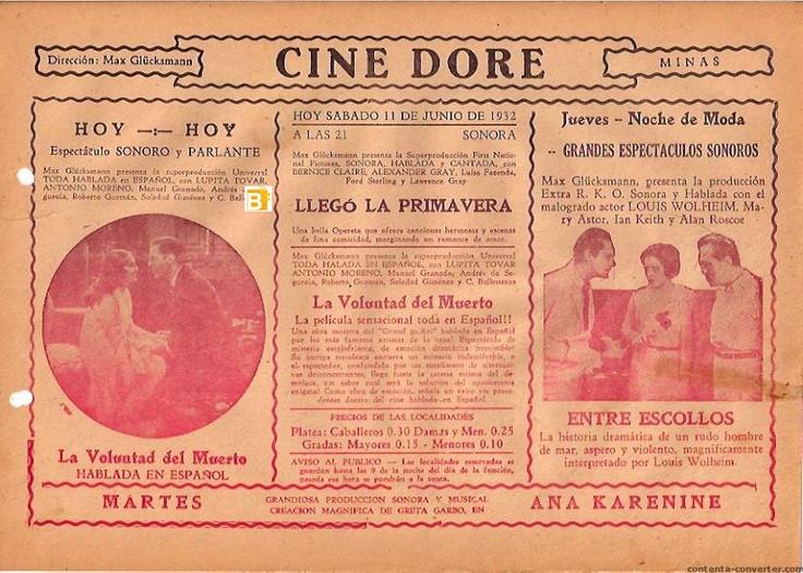 Programa de mano del cine Doré de Madrid.
