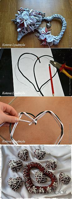 Плетенные сердечки из бумажных трубочек