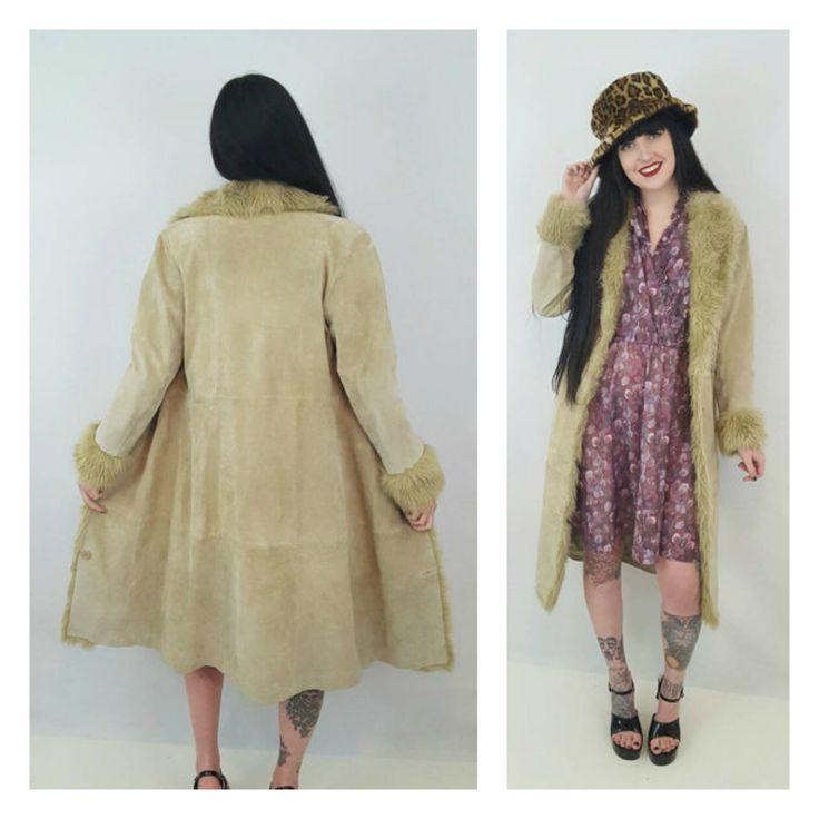 Vintage SUEDE Leather Fur Coat - 90's Shearling Fur Almost Famous Coat - Hippie Gypsy Boho - Tan Delias 90s Retro Fuzzy Coat Medium (119.00 USD) by TheCosmicCircle