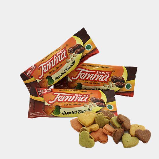 Biskuit Temma | Harga: Rp 10.000 | Rasa: Coklat, Mangga, Melon, dan Strawberry | Isi Kemasan: 13 – 15 Buah | Berat: 90 Gram