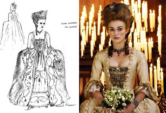 """best movie costume design   Michael O'Connor designs nominated for the film """"The Duchess."""""""