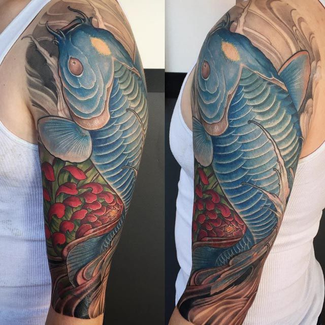 102 best images about japanese tattoo on pinterest back for Koi fish shoulder tattoo
