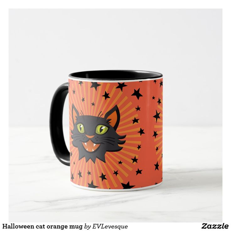 Halloween cat orange mug  Vintage Halloween decor inspired Black Cat coffee mug, for sale on Zazzle.com and art by Elizabeth Levesque of lizzelizzel.com