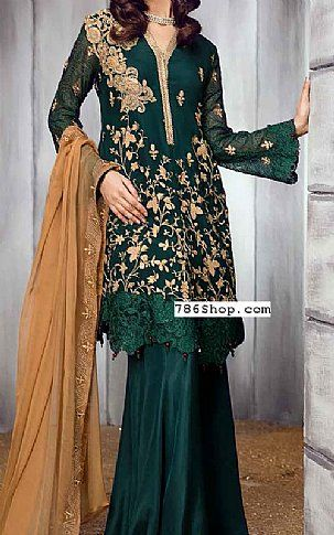7697a61317 Bottle Green Chiffon Suit | Buy Iznik Pakistani Dresses and Clothing online  in USA, UK