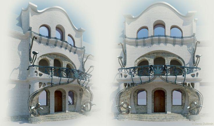 Авторские галереи - Дубинин Денис Валерьевич / Архитектурный стиль модерн стиль в реконструкция фасада особняка (фрагмент входа) /