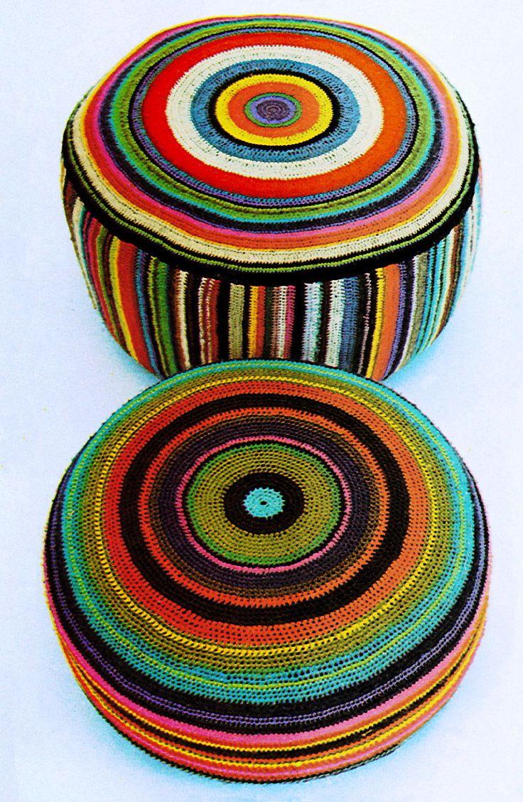Giant Floor Cushion Pillow Cover Dog Bed Chevron Bullseye Vintage 1970's Crochet Pattern PDF. $3.50, via Etsy.