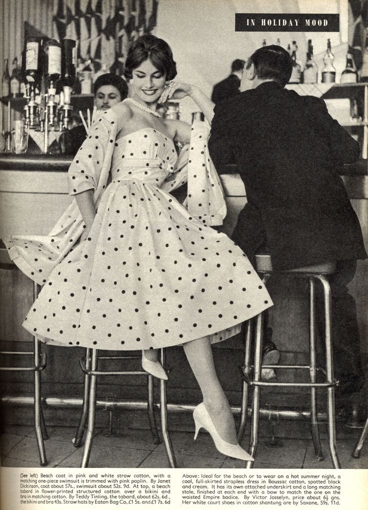 """Glam, gorgeous 1950s polka dot style. """"In Holiday Mood"""""""
