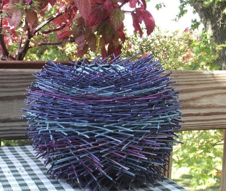 "Hairy basket Flame Series #2 ""Blue Flame"".  Nancy's baskets."