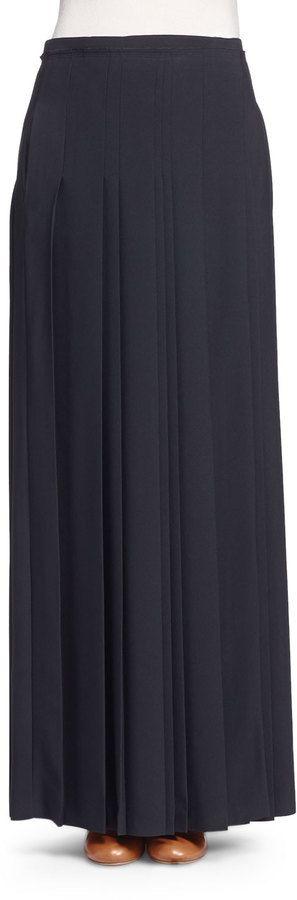 Chloé Pleated Kilt Maxi Skirt, Black