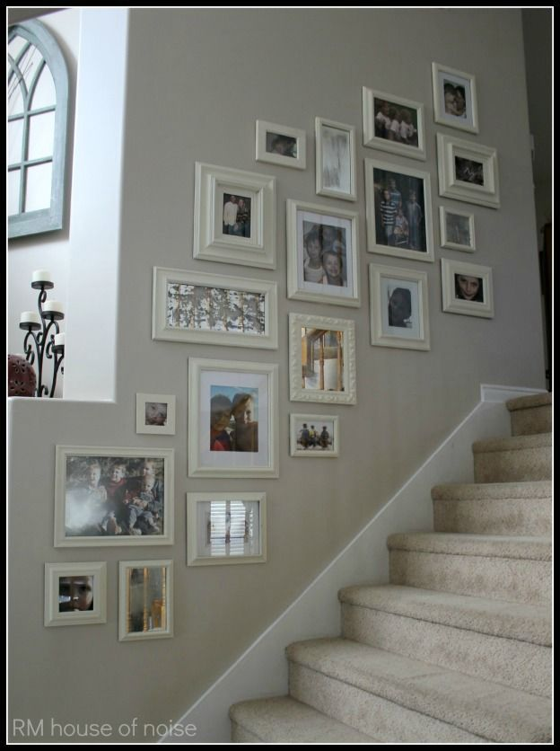 17 best staircase gallery walls with hooked on paint Painting arrangements on wall
