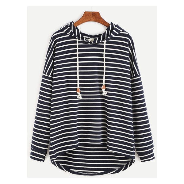 Striped Drop Shoulder Dip Hem Drawstring Hooded Sweatshirt ($14) ❤ liked on Polyvore featuring tops, hoodies, stripe hoodie, striped top, hoodie top, drawstring hoodie and drawstring hooded pullover