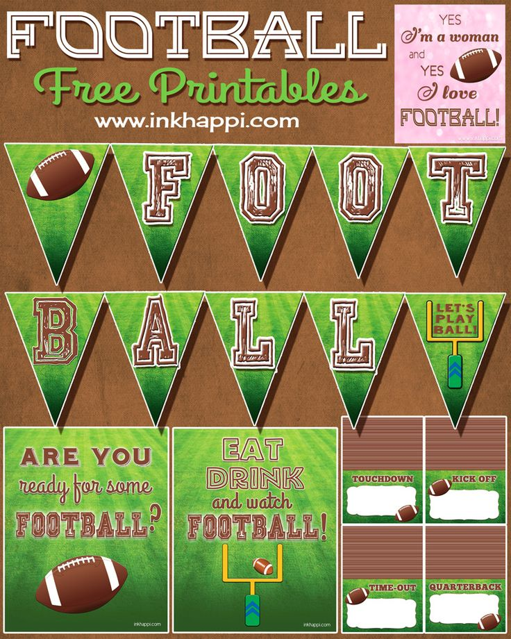 So that brings me to today. And Football free printables! I thought it would be fun to share some that could be used to display on the food/snack table. We
