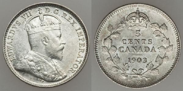 Choice about uncirculated or better 1903 Canadian Silver Coin. This is the King Edward VII Silver five cent piece.
