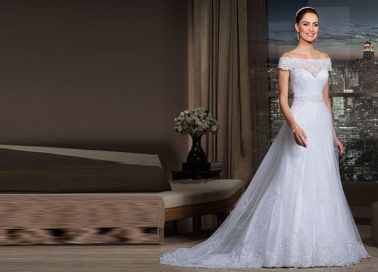 Vestidos de noiva - Coleção Passion - Nova Noiva Pétala Vestido de noiva evasê, decote ombro a ombro, renda guipir com sobreposição de tule francês e aplicação de renda soutache.