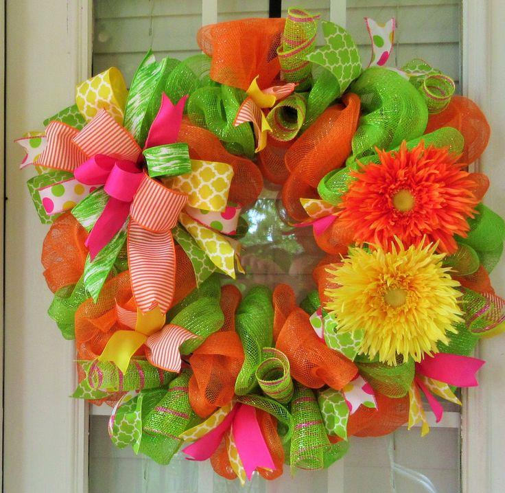 Summer Deco Mesh Door Wreath, Large Gerber Daisy Housewarmng Welcome Summer Door Wreath, Orange Spring Mesh Wreath by SouthernWreathsAL on Etsy https://www.etsy.com/listing/233872484/summer-deco-mesh-door-wreath-large