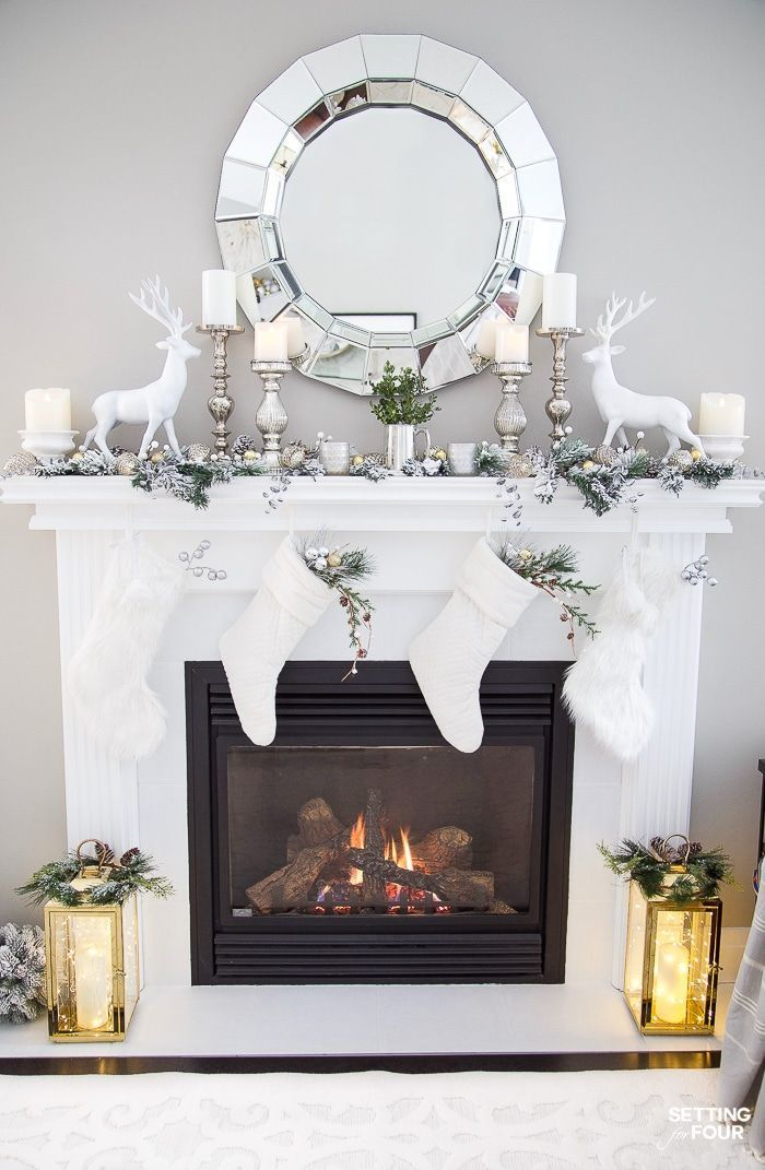 Christmas Mantel Decorating Ideas With Deer Stockings Decorative Christm Christmas Mantel Decorations Christmas Fireplace Decor Silver Christmas Decorations