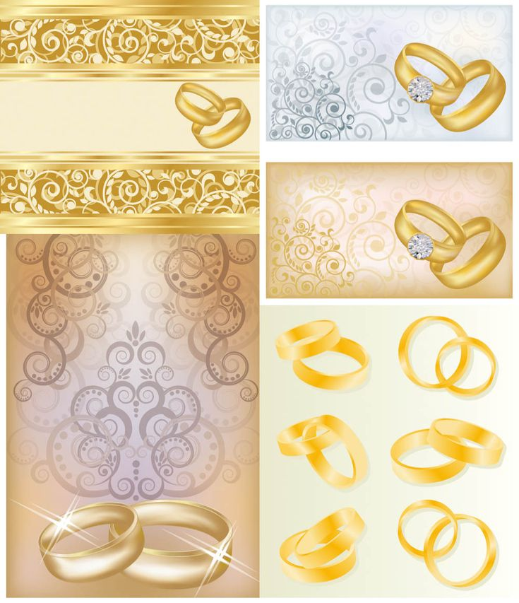 122 best wedding invitations cards backgrounds images on pinterest set of vector beautiful background with gold pattern and borders floral pattern with swirls and wedding rings for wedding cards and invitations stopboris Gallery