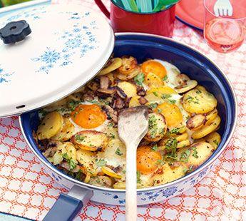 Geroerbakte aardappelschijfjes met champignons en ei - Recept - Jumbo Supermarkten