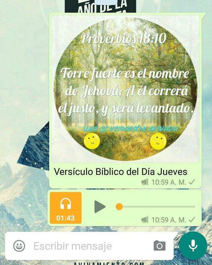 Ahora estamos enviando los versículos Bíblicos en audio SUSCRÍBETE ES GRATIS  SUSCRIBETE A LOS VERSÍCULOS DIARIOS EN WHATSAPP Para Todos los Jóvenes que desean que les llegué todos los Dias un versículos Biblicos por WhatsApp por Favor agregar este numero 573003759071 y escribirme en WhatsApp diciendo que se quieren Suscribir a los versículos Diarios UNA GENERACIÒN AVIVADA -Ya Son mas 400 Personas SUSCRITAS -Se les enviara Todos los Días un Versículo Bíblico en el Chat Privado de cada uno…