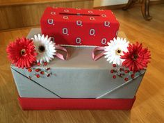 Scarlet & grey Ohio State inspired card box for huge fans! (Aug 2015)