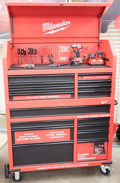 Milwaukee now has a tool box. Small yet seems functional. Built in power strip, good looking casters and a single drawer that locks independent of all others. Good starter box or home box