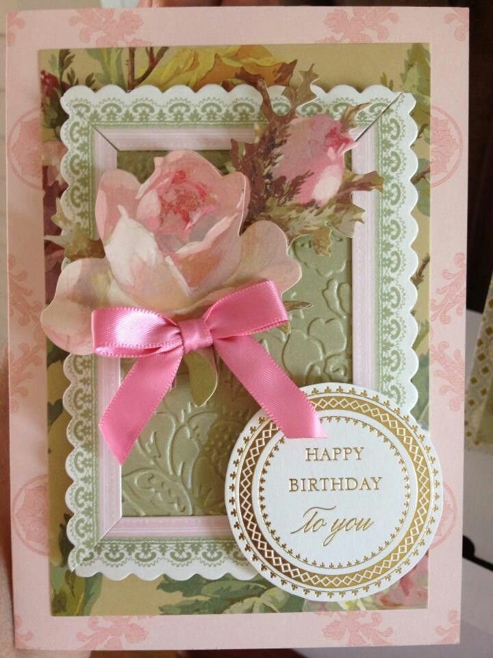 Anna Griffin card with her patterned paper layers and roses