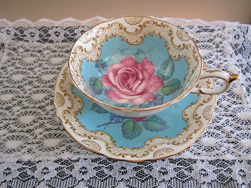 "PARAGON ENGLISH CHINA TEA CUP ""VICTORIA"" TURQUOISE PINK GOLD"