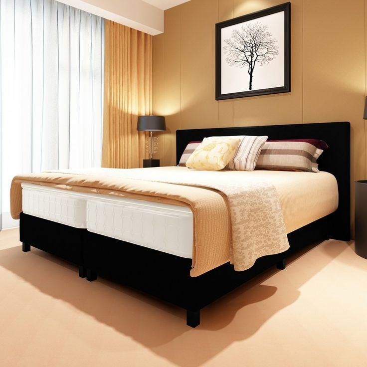 Lit  90 x 200, 140 x 200 cm 180 x 200 cm coffre avec tête de lit capitonnée Noir avec matelas