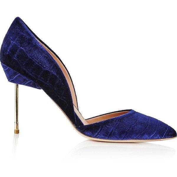 Kurt Geiger London Beaumont Velvet Court Shoes (£245) ❤ liked on Polyvore featuring shoes, pumps, navy, high heeled footwear, velvet shoes, navy blue high heel shoes, navy high heel shoes and navy shoes