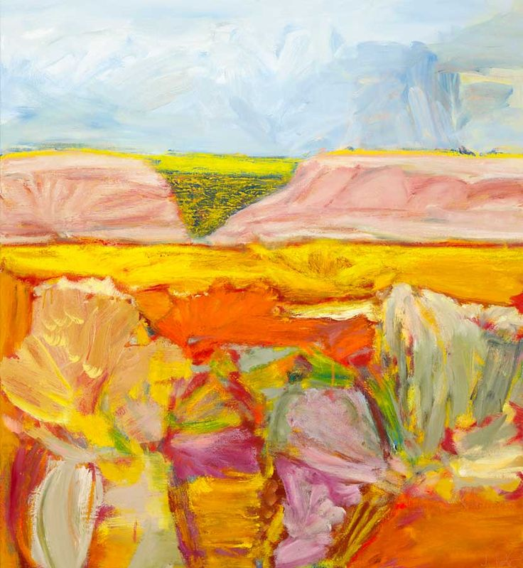 © Jo Bertini ~ Sandhill Series - Billy Buttons & Red Spinach ~ 2012 oil on canvas at Tim Olsen Gallery Sydney Australia