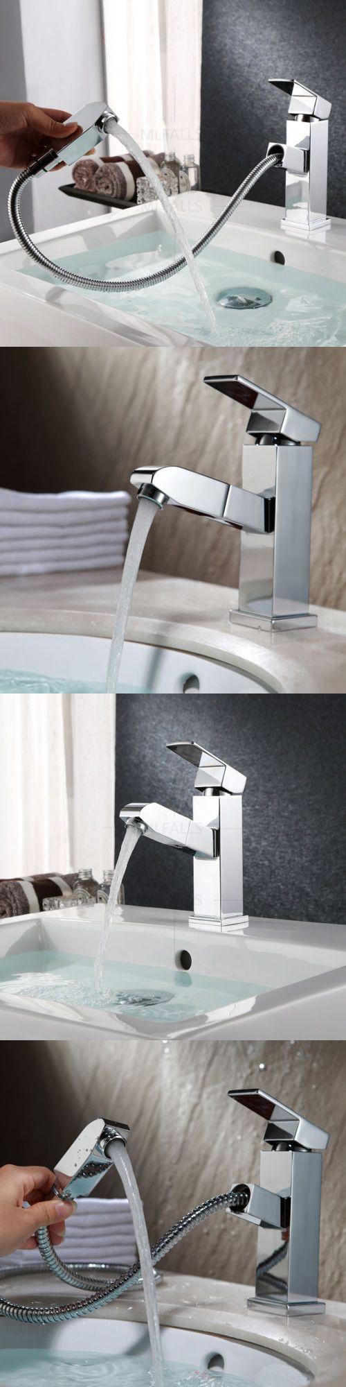 Bathroom sink faucet one hole double handle basin mixer tap ebay - Faucets 42024 Bathroom Basin Sink Faucet Pull Out Spray Single Handle Mixer Tap Contemporary