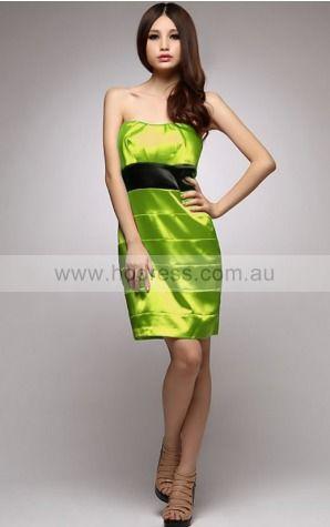 Sheath Strapless Knee-length Satin Empire Party Dresses gt0745--Hodress