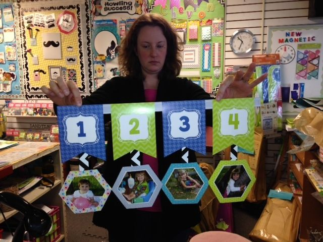 "Gina at Teacher's Helper showing her Birthday line made using CTP's Chevron Number Line and 6"" HexaFun Cut-Outs.   #creativeteachingpress #classroomideas #classdecor #classroomorganization #hexafun"