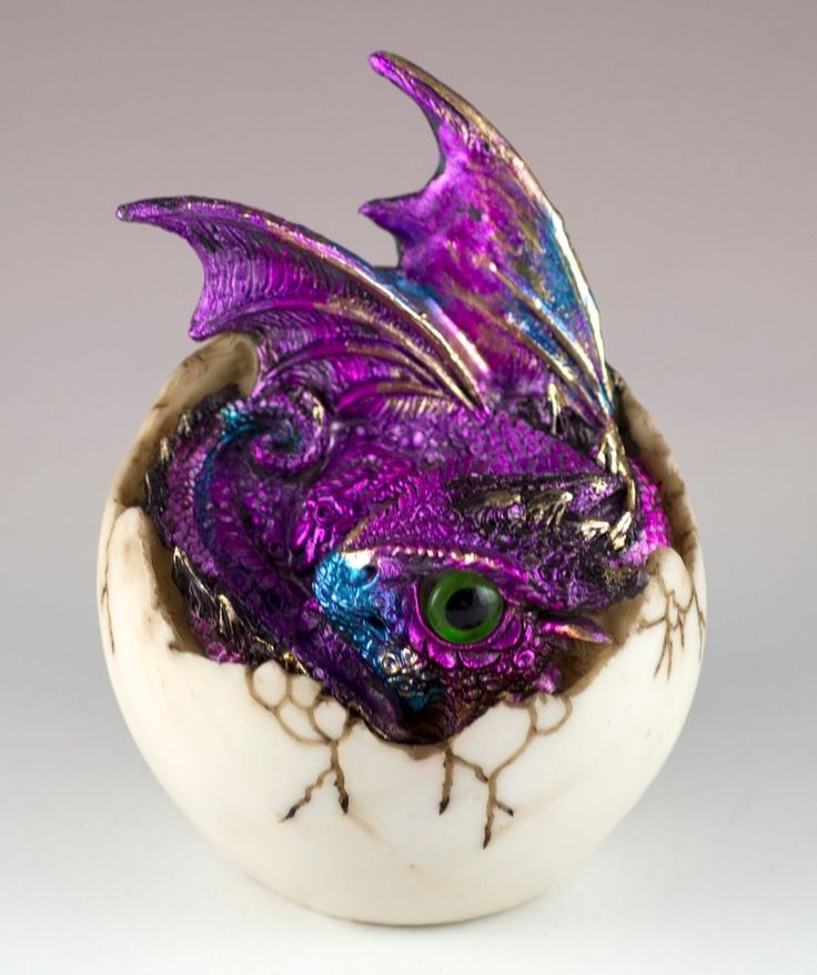 """Purple Baby Dragon Hatching From Egg Figurine Hatchling 4"""" Detailed Resin New! offered by 1gramcm3 on eBay"""