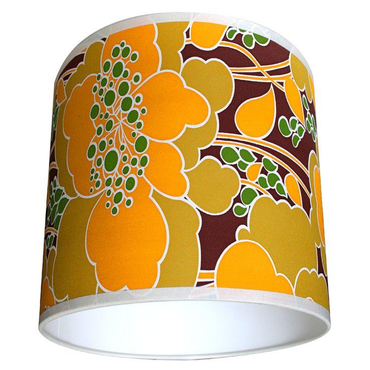 Orange Forest vintage wallpaper lampshade