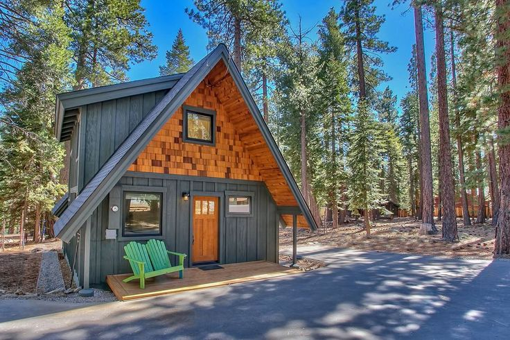 An 800 square feet cabin tucked in the woods next to Lake Tahoe in Carnelian Bay, CA.