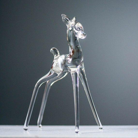 Vintage Blown Glass Deer Doe Fawn Figurine  by VintageDelightShop