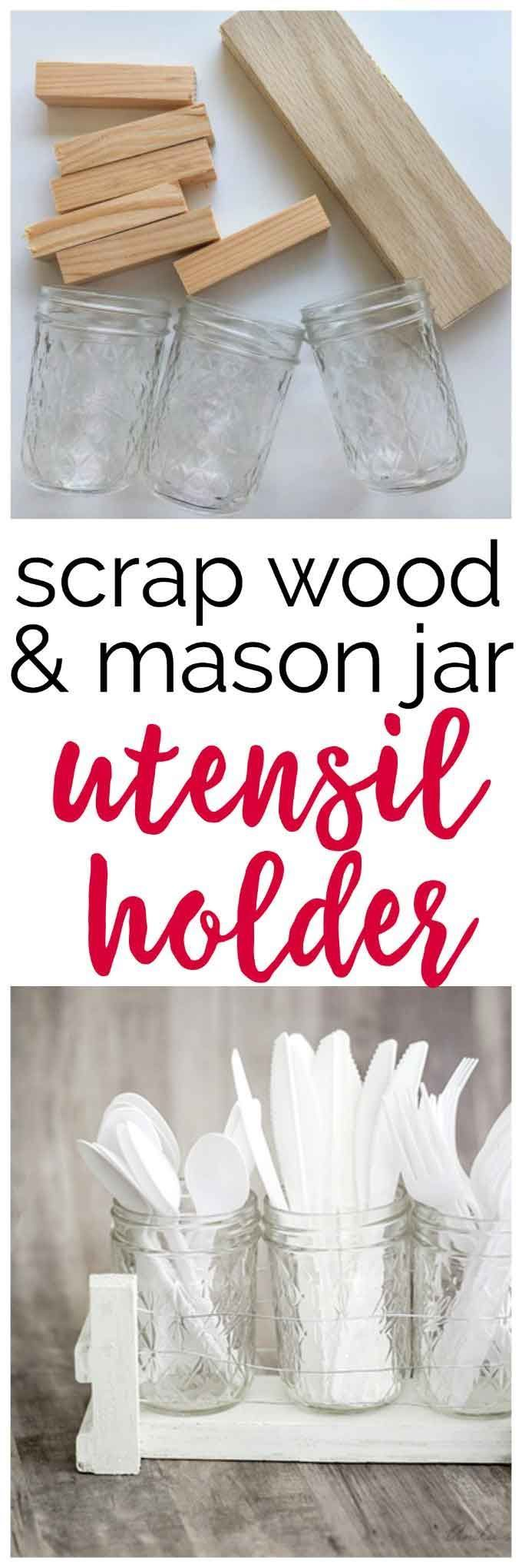 Best Diy Crafts Ideas For Your Home : Easy Mason Jar utensil organizer made using scrap wood and mason jars!