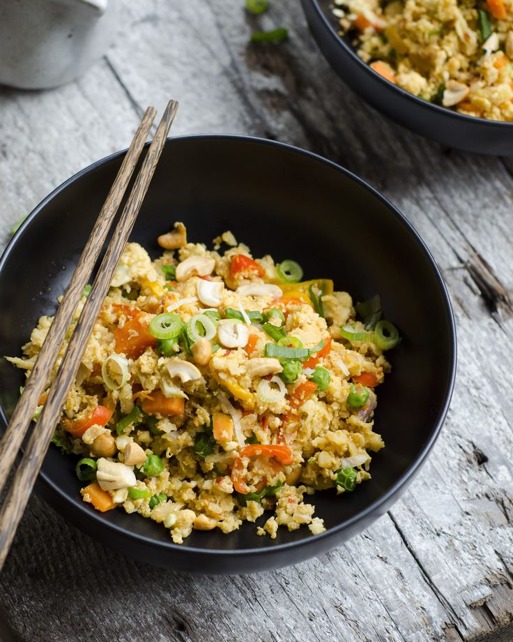 "Cauliflower ""fried rice"" with sweet mini peppers and cashews #paleo #vegetarian"