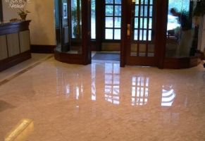 Condominium Lobby - Polished Marble Floor  Scope of work: sand, polish and protect floor with a penetrating sealer.