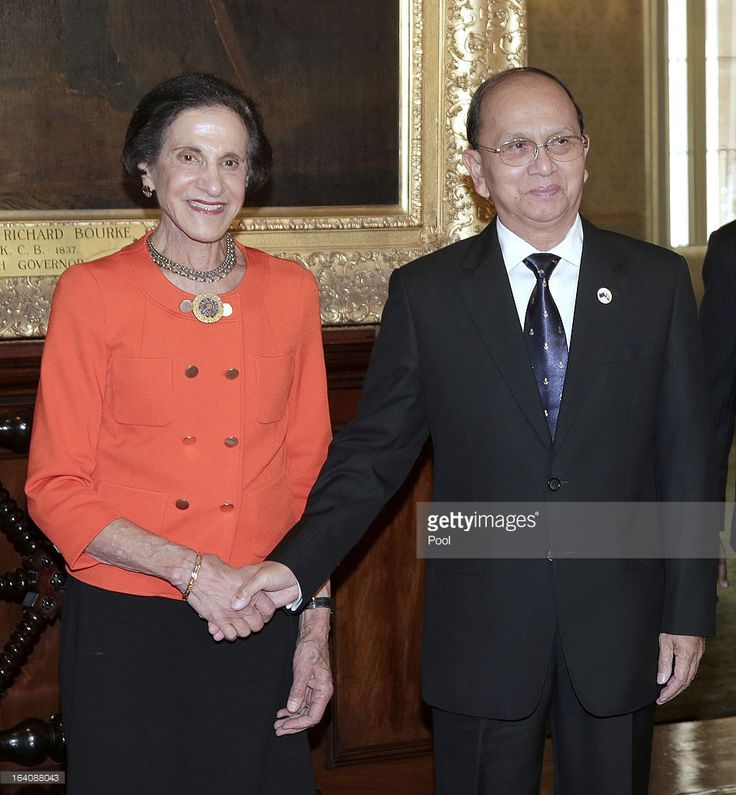 President of Myanmar, Thein Sein (R) and Marie Bashir, Governor of New South Wales shake hands at Government House on March 19, 2013, in Sydney, Australia, President Thein Sein is on the final day of his 3-day visit to Australia.