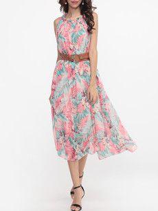 Round Neck Chiffon Floral Printed Maxi Dress