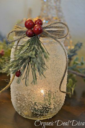DIY Craft: *The following post contains affiliate links Mason Jars are one of my favorite and easy DIY crafts to do. In the fall I made leaf covered mason jars. They glowed so beautiful on my mantle all fall, so I had to make another season appropriate version for the fall. Enter the snow covered mason jar…